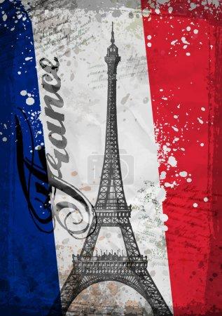 Hand drawn Eiffel Tower. Paris, vector illustration