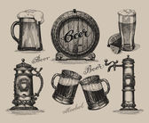Beer set Sketch elements for oktoberfest festival Hand-drawn vector illustration