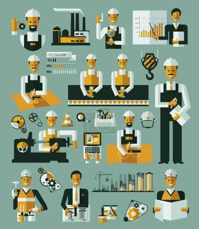 Illustration pour Illustration vectorielle d'infographie d'icônes de processus de production usine - image libre de droit