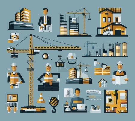 Illustration pour Icône de construction de couleur vectorielle sur un fond bleu - image libre de droit