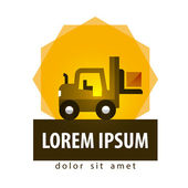 Logistics fork lift truck and box on a white background vector illustration