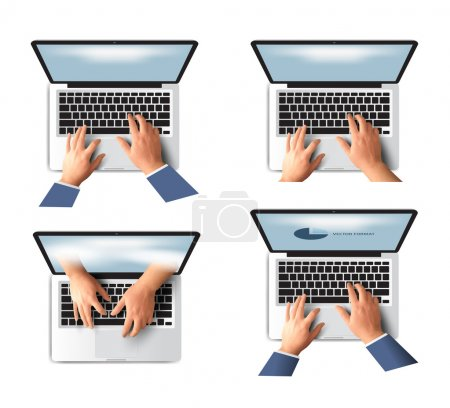 Business hand on notebook computer keyboard with open screen vector illustration