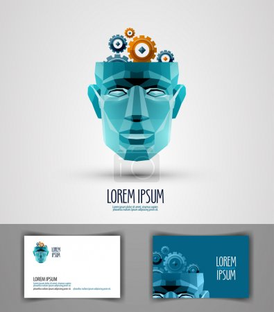 Illustration for Abstraction. head of a man and gear. vector illustration - Royalty Free Image