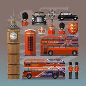 England London UK Set of colored icons