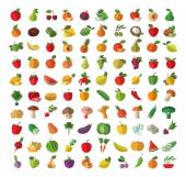 Food Fruit and vegetables Set of colored icons