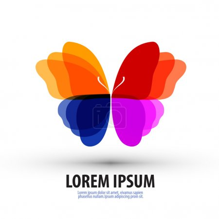 Illustration pour Papillon aux ailes colorées sur fond blanc. illustration vectorielle - image libre de droit