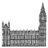 Sketch big Ben on a white background vector illustration