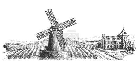 windmill vector logo design template. harvest or village icon.