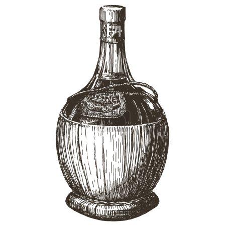 Illustration pour Croquis. bouteille de vin sur fond blanc. illustration vectorielle - image libre de droit
