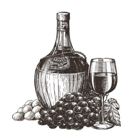 Illustration pour Croquis. vin sur fond blanc. illustration vectorielle - image libre de droit