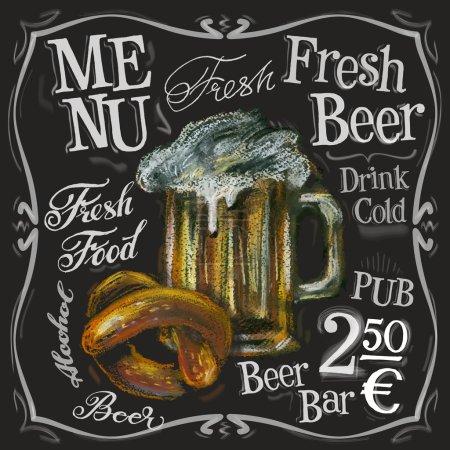 Illustration pour Modèle de conception de logo vectoriel de barre de bière. Boisson alcoolisée ou icône de tableau de menu. Bière fraîche sur fond noir. Illustration vectorielle - image libre de droit