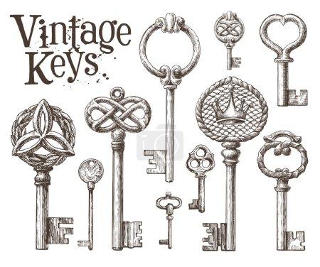 Illustration pour Modèle de conception de logo vectoriel de clé rétro. Antiquités ou icône de vieille chose. Touches de cru sur un fond blanc. Illustration de vecteur - image libre de droit