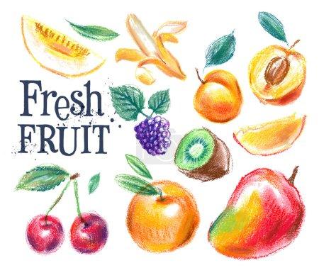 Illustration pour Modèle de conception de logo vectoriel alimentaire frais. Fruits mûrs ou icône de récolte. Fruits frais sur fond blanc. Illustration vectorielle - image libre de droit