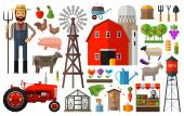 Farm in village vector logo design template harvest gardening horticulture or animals food icon