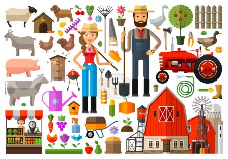 Illustration for Farm, farmhouse, farmyard vector logo design template. harvest, gardening, horticulture or animals, food icon. - Royalty Free Image