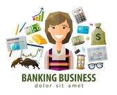 bank stock exchange business vector logo design template money broker brokerage stockbroker or businesswoman icon flat illustration