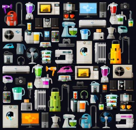 Illustration pour Icônes définir les appareils ménagers. vecteur. illustration plate - image libre de droit