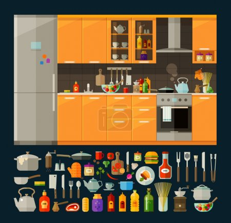Illustration for Modern kitchen furniture and utensils, food. vector. flat illustration - Royalty Free Image