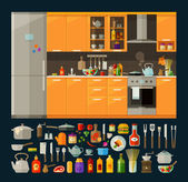 Modern kitchen furniture and utensils food vector flat illustration