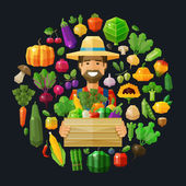 fresh food. fruits and vegetables icons set. farmer with a box in his hand