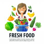 fresh food vector logo design template. fruiterer or market icon. flat illustration