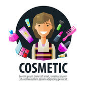 beauty salon cosmetic vector logo design template makeup or cosmetology icon flat illustration