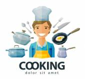 cook chef vector logo design template cooking or kitchenware icon flat illustration