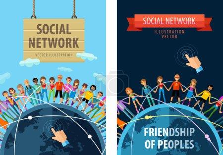 social network vector logo design template. friendship or people, folk icon.