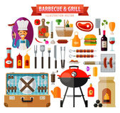 barbecue and grill set of elements - food meat barbecue kitchen tools BBQ bottle wine suitcase picnic hamburger vegetables coal sausage ketchup mustard pepper