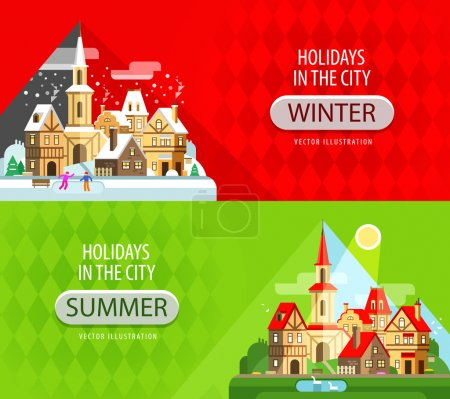 holidays in the city vector logo design template. house, building or village icon.