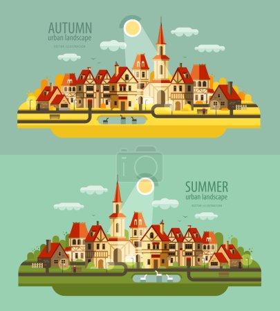 farm in the village. Set of elements - house, village, city, pond, birds, street, road, summer, autumn, bench, trees