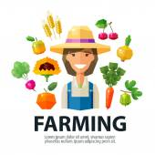 farming farmer farm vector logo design template gardening horticulture or fresh food icon