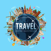 travel journey vector logo design template world map or rest icon