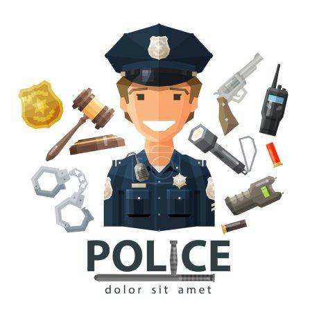 Illustration pour Policier heureux en uniforme. vecteur. illustration plate - image libre de droit
