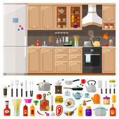 kitchen set of elements - utensils tools food kettle pot knife spices noodles coffee grinder refrigerator furniture ketchup kitchen stove oil frying pan and other