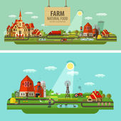 Farm outbuildings and orchard vector flat illustration