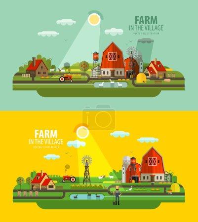 Farm in the village. Set of elements - barn, tractor, animals, building, windy mill, harvest, farming, farmer