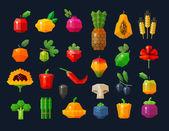 """Постер, картина, фотообои """"фрукты и овощи, набор иконок свежих продуктов. Коллекция элементов - яблоко, лимон, гранат, ананас, пшеницы, оранжевый, Берри, известь, мака, подсолнечник, перец, гриб, оливки, ежевика, Аспара"""""""