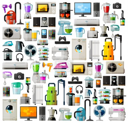 Illustration for Set of colored icons on the theme of home appliances. vector. flat illustration - Royalty Free Image