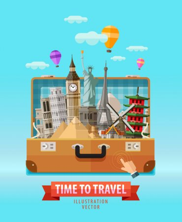 Illustration for Travel outdoor bag and historic architecture. vector illustration - Royalty Free Image
