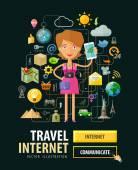 Mobilní internetové služby vektorové logo šablonu návrhu. telefon, cestování nebo Internet, on-line ikony