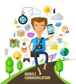 The young guy is on track with the phone in hand telephone handset or network web icons