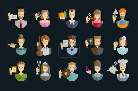 Photo pour Collection d'icônes. des gens sur un fond sombre. illustration vectorielle - image libre de droit