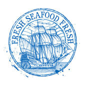 fresh seafood vector logo design template Shabby stamp or ship battleship frigate sailboat icon