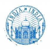 Taj Mahal vector logo design template Shabby stamp or India icon