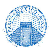 Mexico vector logo design template Shabby stamp or pyramid icon