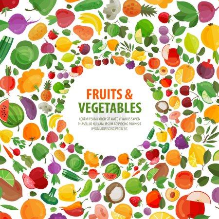Illustration pour Fruits et légumes frais sur fond blanc. illustration vectorielle - image libre de droit