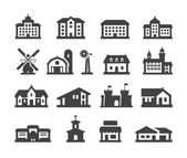 house icons set collection elements hotel real estate school castle palace church store shopping mall cinema home farm campus