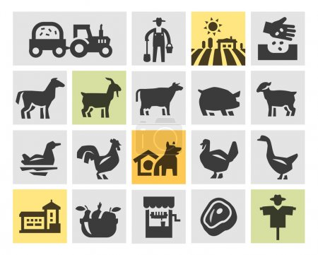 farm icons set. vector illustration