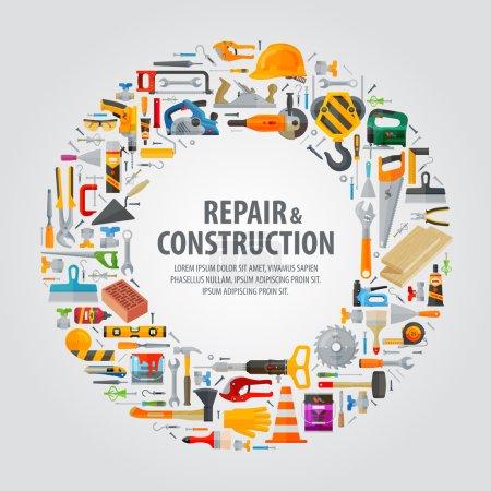Illustration pour Outils de construction sur fond gris. illustration vectorielle - image libre de droit